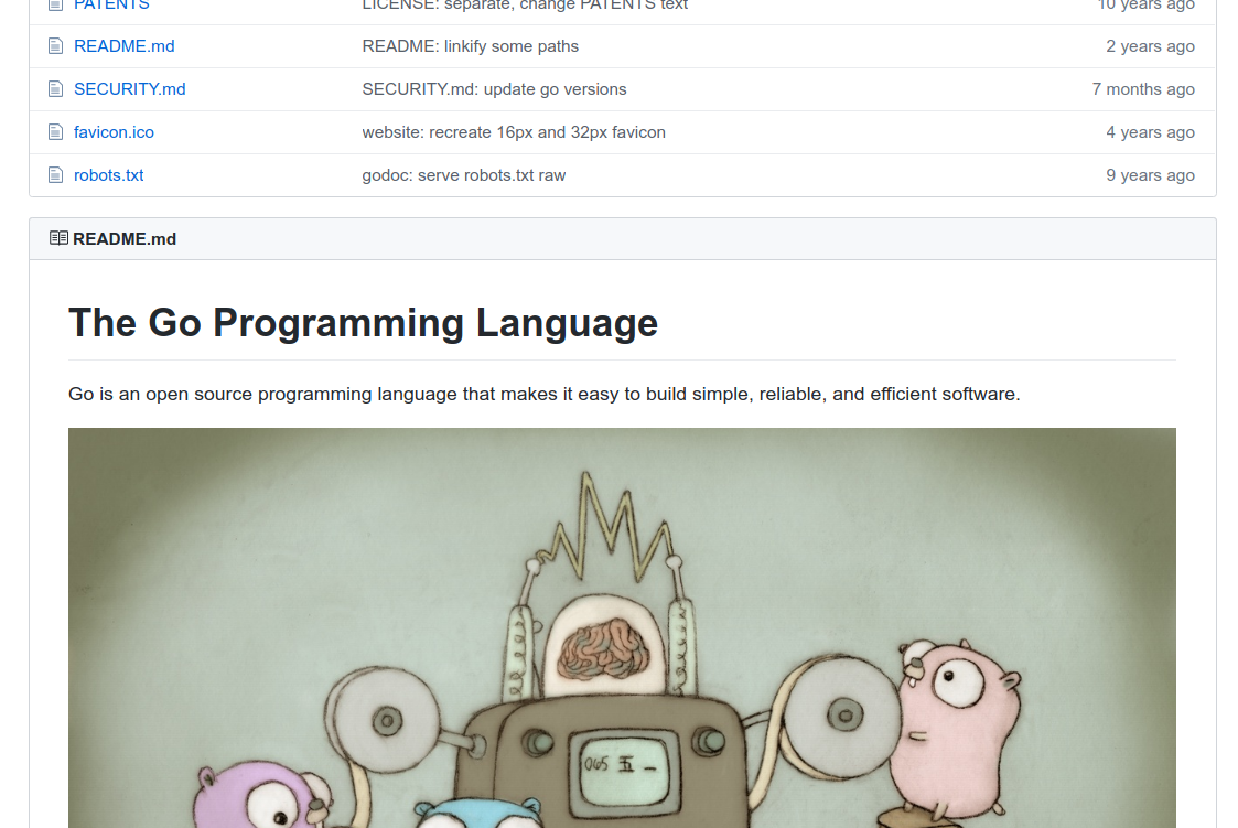 Github readme of the Go programming language